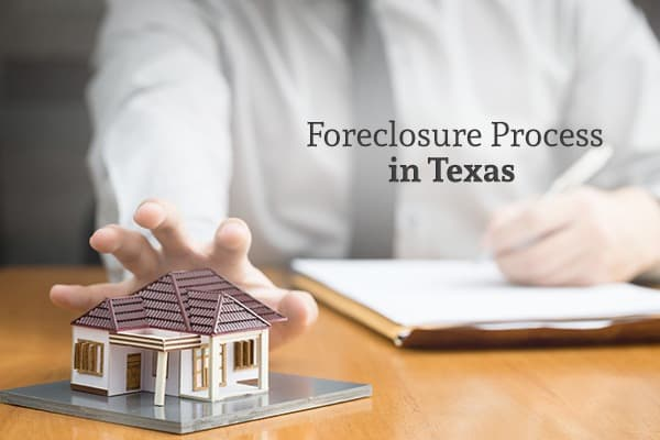 "A man with documents in front of him reaches for a model of a house, with the words ""Foreclosure Process in Texas"""