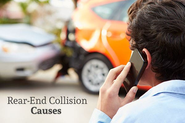 A man on the phone with a rear-end collision in the background with the words rear end collision causes